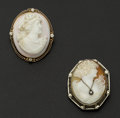 Estate Jewelry:Cameos, Two Vintage Gold Cameos With Diamonds. ... (Total: 2 Items)