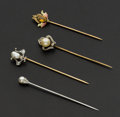 Estate Jewelry:Stick Pins and Hat Pins, Four Early Gold Stick Pins. ... (Total: 4 Items)