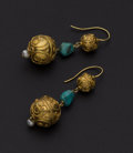 Estate Jewelry:Earrings, Turquoise 22k Gold Dangle Earrings. ...