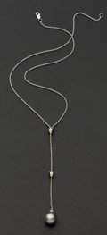 Estate Jewelry:Necklaces, Black Pearl & Diamond 18k Gold Drop Necklace. ...