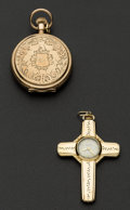 Timepieces:Other , Illinois 10k Gold Pocket Watch & Gold Filled Cross PendantWatch. ... (Total: 2 Items)