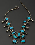 Estate Jewelry:Necklaces, Sterling Silver Squash Blossom Turquoise Necklace. ...