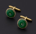 Estate Jewelry:Cufflinks, Diamond Jade 18k Gold Cufflinks. ...
