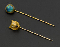 Antique Lion & Opal Gold Stick Pins