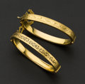 Estate Jewelry:Bracelets, Two Gold Filled & Enamel Victorian Bangles. ... (Total: 2 Items)
