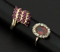 Estate Jewelry:Rings, Two Ruby Gold Rings. ... (Total: 2 Items)