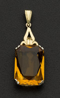 Estate Jewelry:Pendants and Lockets, Estate Large Citrine Gold Pendant. ...