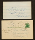 Baseball Collectibles:Others, Big Ed Walsh and Frank Home Run Baker Signed Index Cards. ...