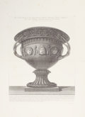 Decorative Prints, European:Prints, TWO FRAMED GIOVANNI BATTISTA PIRANESI BLACK AND WHITE COPPER PLATEENGRAVINGS OF URNS . (Italian, 1720-1778), circa 1778. 31...(Total: 2 Items)