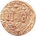 Ancients:Byzantine, Ancients: Constantine VI and Irene (AD 780-797). AV solidus (20mm,4.30 gm, 6h). ...