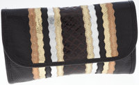 Carlos Falchi Black and Metallic Lizard, Snakeskin & Leather Clutch