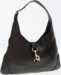 Gucci Black Leather Jackie Bag with Silver Hardware