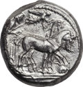 Ancients:Greek, Ancients: Syracuse. Deinomenid Tyranny. Ca. 485-466 BC. ARtetradrachm (24mm, 17.11 gm, 3h). ...