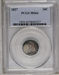 Bust Dimes: , 1827 10C MS64 PCGS. PCGS Population (35/9). NGC Census: (39/29).Mintage: 1,300,000. Numismedia Wsl. Price: $3,250. (#4504)...