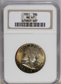 Franklin Half Dollars: , 1951 50C MS67 NGC. NGC Census: (2/0). Mintage: 16,859,602.Numismedia Wsl. Price: $2,000. (#6658)...