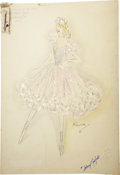 "Movie/TV Memorabilia:Original Art, Original Royer Costume Sketch for Sonja Henie in ""Thin Ice."" A12.5"" x 18"" costume sketch by celebrated costume designer Roy...(Total: 1 Item)"