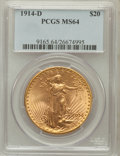 Saint-Gaudens Double Eagles: , 1914-D $20 MS64 PCGS. PCGS Population (2249/1034). NGC Census:(1902/590). Mintage: 453,000. Numismedia Wsl. Price for prob...