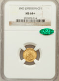 Commemorative Gold, 1903 G$1 Louisiana Purchase/Jefferson MS64+ NGC. CAC....