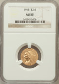 Indian Quarter Eagles: , 1915 $2 1/2 AU55 NGC. NGC Census: (225/10700). PCGS Population(486/5243). Mintage: 606,000. Numismedia Wsl. Price for prob...