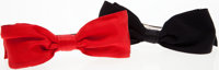 Chanel Black and Red Satin Hair Bows