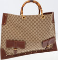 Luxury Accessories:Bags, Gucci Brown Monogram Canvas Large Tote Bag with Bamboo Handles. ...