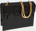 Luxury Accessories:Bags, Chanel Black Patent Leather Shoulder Bag with Gold Chain Strap. ...
