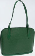 Luxury Accessories:Bags, Louis Vuitton Green Epi Leather Lussac Shoulder Bag. ...
