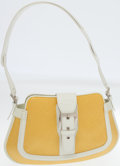 Luxury Accessories:Bags, Tod's White Leather and Yellow Waxed Cotton Media Hobo Bag. ...