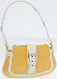 Tod's White Leather and Yellow Waxed Cotton Media Hobo Bag