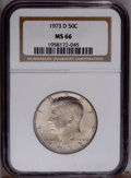 Kennedy Half Dollars: , 1973-D 50C MS66 NGC. NGC Census: (74/4). PCGS Population(157/50).Mintage: 83,171,400. Numismedia Wsl. Price: $21.(#6721)...
