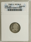 Bust Dimes: , 1830 10C Medium 10C--Cleaned, Scratched--ANACS. Fine 12 Details.NGC Census: (1/149). PCGS Population (3/164). Mintage: 510...
