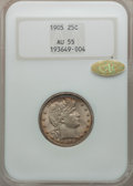 Barber Quarters, 1905 25C AU55 NGC. Gold CAC. NGC Census: (7/122). PCGS Population(17/141). Mintage: 4,968,250. Numismedia Wsl. Price for p...
