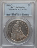 Seated Dollars, 1846-O $1 -- Smoothed -- PCGS Genuine. VF Details. NGC Census:(1/142). PCGS Population (8/223). Mintage: 59,000. Numismedi...