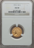 Indian Quarter Eagles: , 1912 $2 1/2 AU58 NGC. NGC Census: (1628/6219). PCGS Population(744/2806). Mintage: 616,000. Numismedia Wsl. Price for prob...