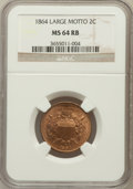 Two Cent Pieces, 1864 2C Large Motto MS63 Red and Brown NGC,... (Total: 4 coins)