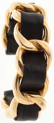 Chanel Gold Chain and Black Leather Cuff Bracelet