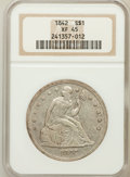 Seated Dollars: , 1842 $1 XF45 NGC. NGC Census: (69/320). PCGS Population (126/291).Mintage: 184,618. Numismedia Wsl. Price for problem free...