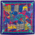 "Luxury Accessories:Accessories, Hermes Purple, Yellow and Pink ""Etendards et Bannieres,"" by AnnieFaivre Silk Scarf. ..."