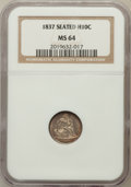 Seated Half Dimes, 1837 H10C No Stars, Large Date MS64 NGC. NGC Census: (243/221).PCGS Population (140/91). Mintage: 1,405,000. Numismedia W...