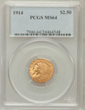 Indian Quarter Eagles: , 1914 $2 1/2 MS64 PCGS. PCGS Population (350/53). NGC Census:(420/49). Mintage: 240,000. Numismedia Wsl. Price for problem ...