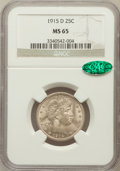 Barber Quarters: , 1915-D 25C MS65 NGC. CAC. NGC Census: (61/28). PCGS Population (123/39). Mintage: 3,694,000. Numismedia Wsl. Price for prob...