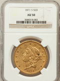 Liberty Double Eagles: , 1871-S $20 AU50 NGC. NGC Census: (151/1071). PCGS Population(83/320). Mintage: 928,000. Numismedia Wsl. Price for problem ...
