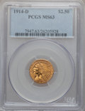 Indian Quarter Eagles, 1914-D $2 1/2 MS63 PCGS....