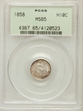 Seated Half Dimes: , 1858 H10C MS65 PCGS. PCGS Population (81/53). NGC Census: (103/79).Mintage: 3,500,000. Numismedia Wsl. Price for problem f...