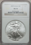Modern Bullion Coins, 2009 $1 One Ounce Silver Eagle MS70 NGC. NGC Census: (4486). PCGSPopulation (20745). Numismedia Wsl. Price for problem fr...