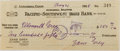 "Autographs:Authors, Zane Grey. Signed Check. One page, 6.25"" x 2.5"", aPacific-Southwest Bank check in the amount of $250, May 21, 1928.Punch c..."