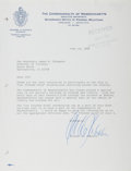"""Autographs:Statesmen, Michael Dukakis (Democratic Presidential Candidate andMassaachusetts Governor). Typed Letter Signed, """"Michael S.Dukakis"""", ..."""