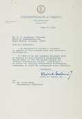 Autographs:Statesmen, Mills E. Godwin (Governor of Virginia). Typed Letter Signed, onepage, June 27, 1975, governor's office stationery, to Mr. C...