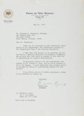 Autographs:Statesmen, Bruce King (Governor of New Mexico). Typed Letter Signed, one page,May 14, 1973, governor's office stationery, to Mr. Clare...