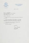 Autographs:Statesmen, Ella Grasso (Governor of Connecticut). Typed Letter Signed, onepage, June 25, 1975, governor's office stationery, to Mr. C....